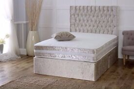 New Crushed Velvet Fabric Divan Bed Base With Different Types of Mattresses - Single double or King