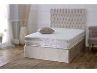 DOUBLE CRUSHED VELVET DIVAN BED BASE WITH DEEP QUILTED MATTRESS