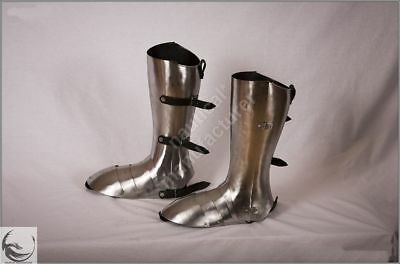 Knight Leg Armor (Combat Ready Leg Guard Set Medieval Crusader Knight Greaves and sabaton shoes)