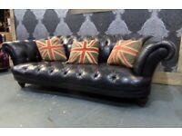 Stunning Chesterfield Tetrad Oskar Black Large 3 Seater Sofa - UK Delivery