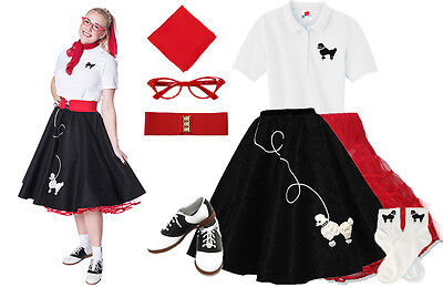 50 S Outfits (Hip Hop 50s Shop Womens 8 pc Black w/Red Poodle Skirt Outfit Halloween Costume)