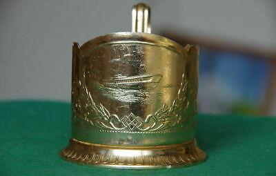 Vintage Russian Soviet Cup Holder Aluminum Podstakannik Tea Holder Boat USSR