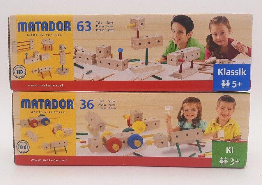 Matador 36 tlg. oder 63 tlg. Holzkonstruktionsbaukästen- Baukasten - Kinder