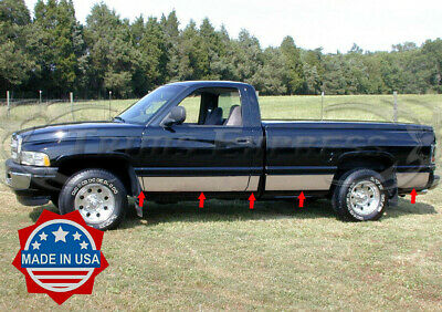 "fits 1998-2001 Dodge Ram Regular Cab Long Bed Rocker Panel Trim 8.5"" Stainless"