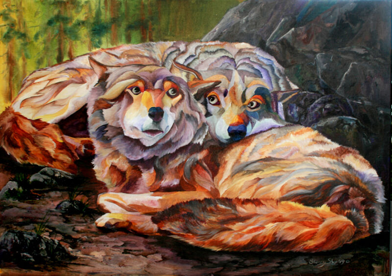 SOUL MATES Wolves 8X10 Print from Artist Sherry Shipley
