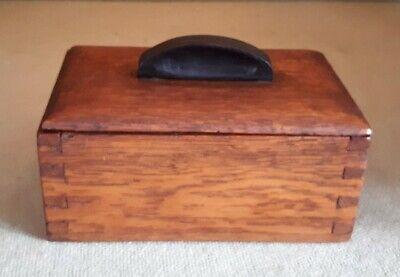 Antique Solid Oak Art Deco Wooden Keepsake Box 15 x 9.5 x 9 cms