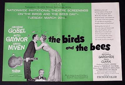 THE BIRDS AND THE BEES MITZI GAYNOR 1956 PROMO MOVIE AD POSTER ADVERTISEMENT