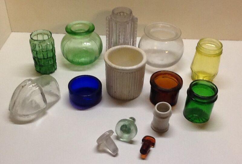 Antique Colorful Lot Of Privy Bits. Jars, Bottle Stoppers.