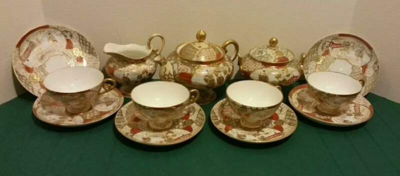 Vtg Antique KUTANI Moriage Lithopane GEISHA Japanese Signed MEIJI 13PC Tea Set