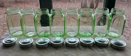 8 GREEN DEPRESSION HOCKING 8OZ. CANISTERS JARS - Aluminum Lids **FREE SHIPPING**
