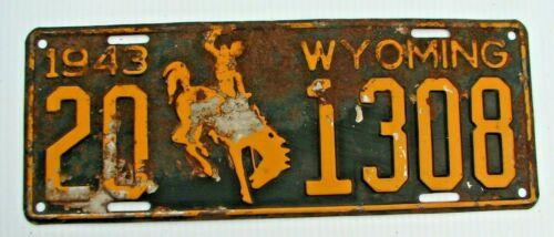 "1943 WYOMING AUTO LICENSE PLATE  "" 20 1308 "" WY 43  BRONCO ALL ORIGINAL  WORLAND"
