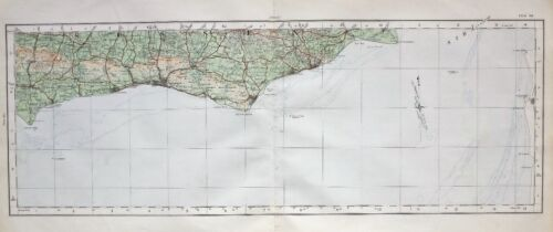 1922 LARGE MAP SUSSEX COAST WEST & EAST BRIGHTON WORTHING BEACHY HEAD DUNGENESS