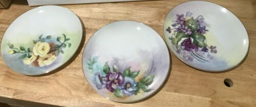 "3 Original unique Susie '70 hand painted floral 8"" plates"