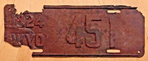 """1924 WYOMING LOW NO AUTO LICENSE PLATE """" 451 """" WY 24 READY TO BE RESTORED WYO"""