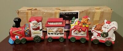 Vintage House Of Lloyd Ceramic Train Holiday Train Set With Box Merry Christmas