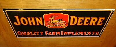 "VINTAGE 1934 JOHN DEERE FARM IMPLEMENTS 23"" PORCELAIN METAL GASOLINE & OIL SIGN!"