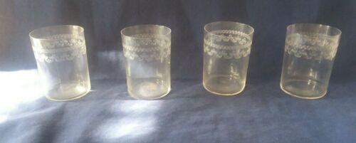 4 Vintage Fostoria Pagoda Crystal Stemware Pensile Etched Juice Glasses