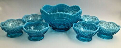 Dugan Blue Opalescent Circled Scroll 7 Pc. Berry Bowl Set