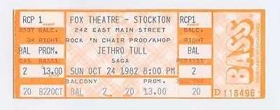 Jethro Tull Ticket 1982 Oct 24 Fox Theatre Stockton CA Unused
