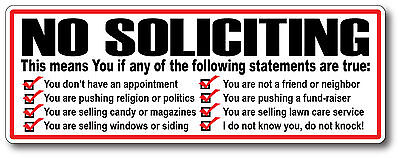 No Salesmen No Soliciting Solicitor Sticker Decal No Trespassing No Strangers