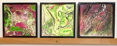 Cradled Painting Board (Neon Abstract 6x6 Acrylic Pour Fluorescent Paintings Cradled board Penny)