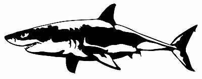 GREAT WHITE SHARK VINYL DECAL CAR WINDOW WALL LAPTOP BUMPER STICKER FISH (White Vinyl Car Decal)