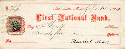 1874 Check   First National Bank Of Ann Arbor  Michigan   Used