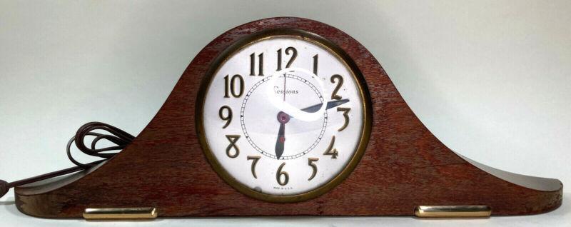 "Sessions 1940s Mahogany Mantel Clock Model 2W Electric Base Working 19"" x 6"" CT"