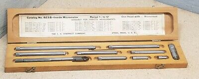 Starrett No. 823 - Inside Micrometer 1 12 To 12 With Wooden Protective Case