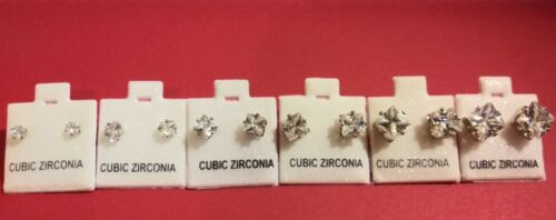 wholesale jewelry lots 80 pairs cubic zirconia stud earring mixed size 4-6mm