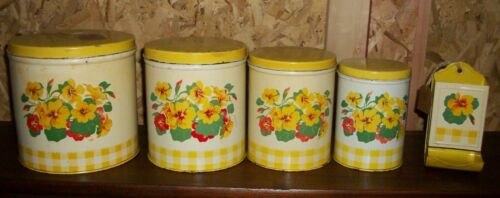 Vintage Metal Canisters with Match Holder 5 pcs. Nice