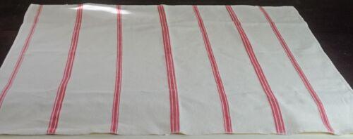 Vintage Antique PRIMITIVE Hand Woven REDWORK TOWEL Striped VV146