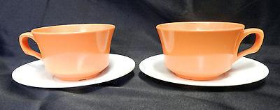 Melmac Melamine Cup Saucer Orange White Allied Chemical Vintage Set of 2 Retro
