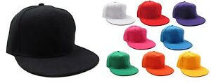 Brand-New-SNAP-BACK-SNAPBACK-RETRO-BASEBALL-CAP-Flat-Peak-Cotton-Hat-MANY-COLORS