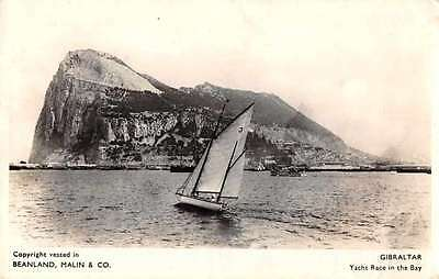 Gibraltar Sailboats Yacht Race in the Bay Real Photo Antique Postcard J66446
