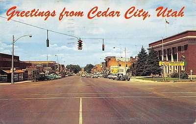 Cedar City Utah Street Scene Historic Bldgs Vintage Postcard K46831