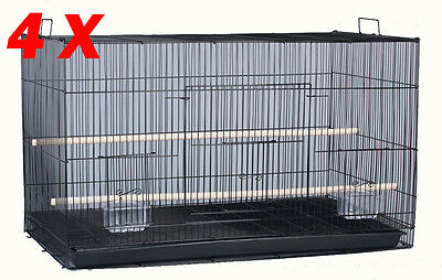 NEW Lot of Large 4 Bird Breeding Breeder Cages 30x18x18 With Stand BLK-479
