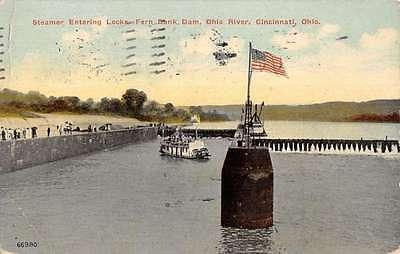 Cincinnati Ohio Steamer Entering Locks Fern Bank Dam Antique Postcard K13079