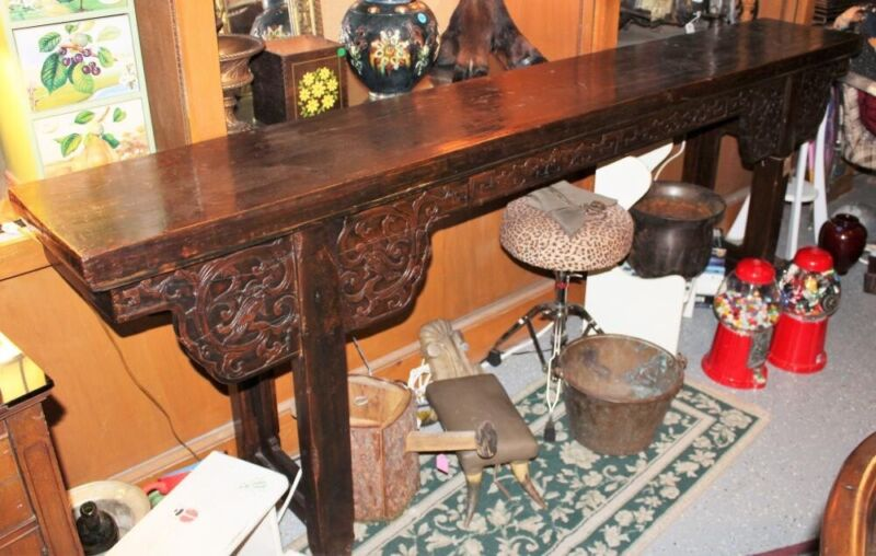 """Antique Chinese Altar Table 98"""" Long, Brown Lacquer"""