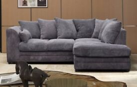 *14-DAY MONEY BACK GUARANTEE!** SAME DAY - Desmond Jumbo Cord Corner Suite or 3 and 2 Sofa Set