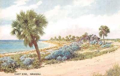 Nassau Bahamas scenic view east end island beach antique pc Z19454