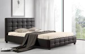 NEW ON SALE - Double PU Leather Deluxe Bed Frame Black Silverwater Auburn Area Preview