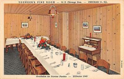 Chicago Illinois Younkers Pine Room Interior Linen Antique Postcard K27311