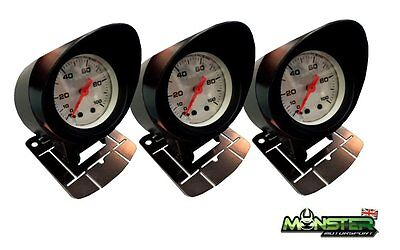3 x 52mm Car Gauge Holders, Gauge Pods Triple Pack for Boost Gauge, Oil Temp etc