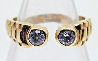 1996 9ct Yellow Gold Diamond Paste Ring with Rolex Styled Band size N