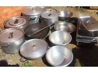 Large commercial industrial catering handled cooking pots and pans (multiple items)