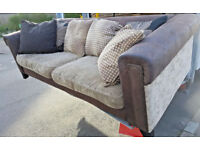 4 seater and 2 seater leather sofas with 10+ real feather heavy cushions