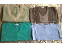 """4x mens jumpers, 3x v-necks + one crew neck, size medium 38-40"""" chest, used but in good condition"""