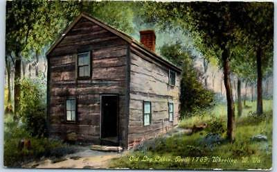 "Wheeling, West Virginia Postcard ""Old Log Cabin, Built 1769"" Curteich c1910s, used for sale  Shipping to Canada"