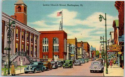 Burlington Vermont Postcard Lower Church Street Downtown Scene Linen Dated 1950 (Church Street Burlington)